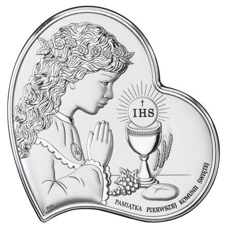 Obrazek Srebrny Pamiątka I Komunii dla dziewczynki Serce z podpisem DS03A