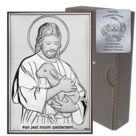 Obrazek Srebrny Pamiątka I Komunii prostokąt z podpisem DS29