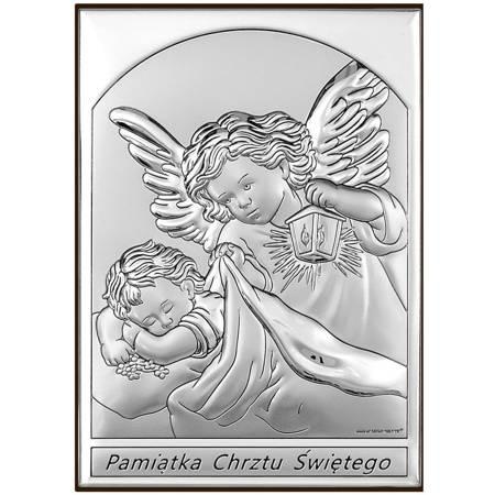 Obrazek srebrny Anioł Stróż Pamiątka Chrztu 6669S