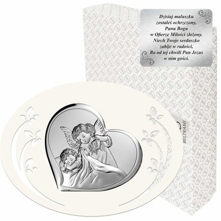 Obrazek srebrny Aniołek z latarenką Pamiątka Chrztu Świętego 6448P