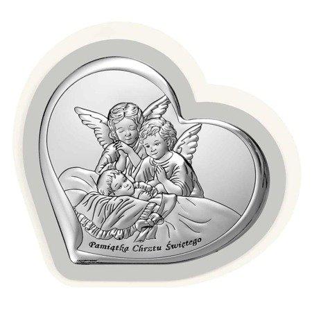 Obrazek srebrny Aniołki nad dzieckiem 6451PG