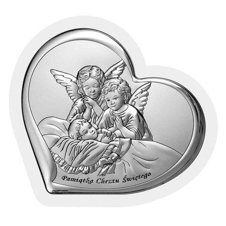 Obrazek srebrny Aniołki nad dzieckiem 6451W