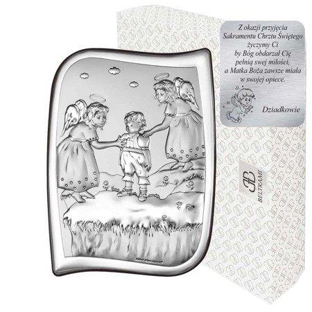 Obrazek srebrny Aniołki nad dzieckiem Pamiątka Chrztu 6551