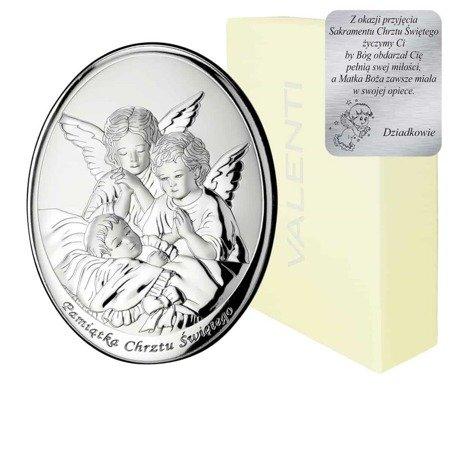 Obrazek srebrny Aniołki nad dzieckiem podpisem 604A