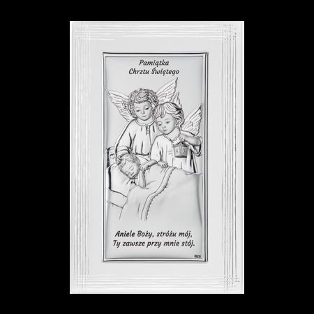 Obrazek srebrny Aniołki z latarenką nad dzieckiem DS21F/2