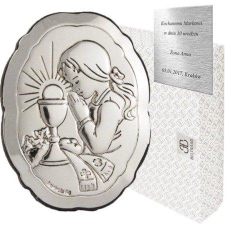 Obrazek srebrny I Komunia Św. Dziewczynka 6318/4