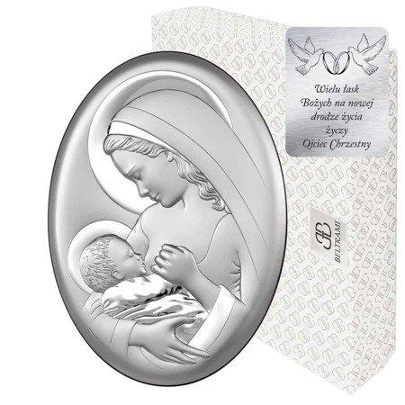 Obrazek srebrny Matka Boska z dzieciątkiem 6521