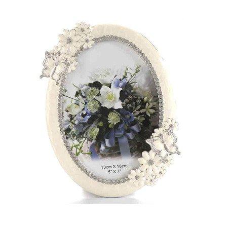 Ramka dziecięca z masy perłowej - beżowa, kwiaty i motyle 473-3308