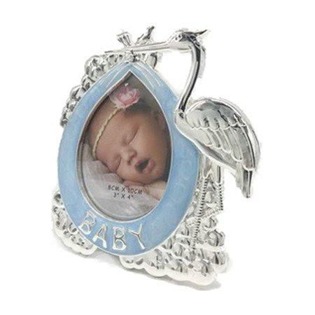 Ramka dziecięca z masy perłowej - niebieska, bocian 473-3346