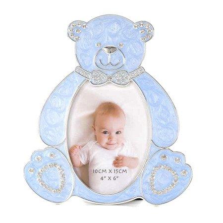 Ramka dziecięca z masy perłowej - niebieska, miś 473-3301