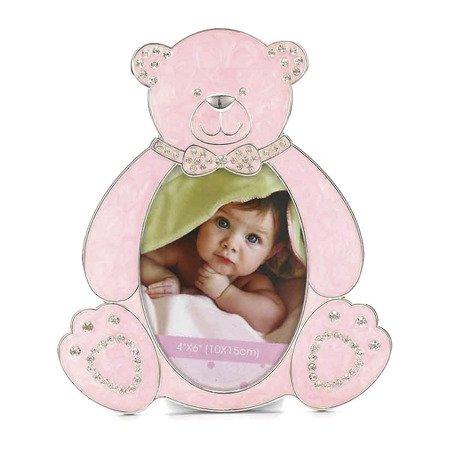 Ramka dziecięca z masy perłowej - różowa, miś 473-3302