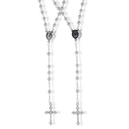 Różaniec srebrny - 5 dziesiątek na szyję, ażurowy 13,6-14,00 g, srebro pr. 925 RC001