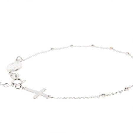 Różaniec srebrny - bransoletka na rękę, dziesiątka diamentowana, 2,0-2,5 g, srebro pr. 925 BRS40