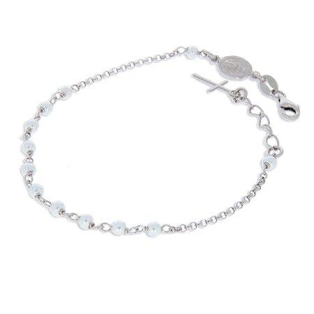 Różaniec srebrny - bransoletka na rękę dziesiątka z pereł 3,1-3,5 g srebro pr. 925 BRS30