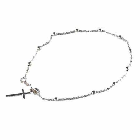 Różaniec srebrny - bransoletka różańcowa na rękę, dziesiątek, 1,6-2,0 g, rodowane srebro pr. 925 BRP18
