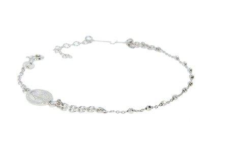Różaniec srebrny - bransoletka różańcowa na rękę, dziesiątek, rodowany 3,0-3,4 g, srebro pr. 925 BRS19