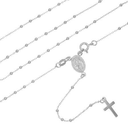 Różaniec srebrny rodowany- 5 dziesiątek 4,2g, 2mm srebro pr. 925 RC023