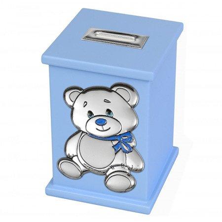 Skarbonka z pozytywką - miś, niebieska 3642/C