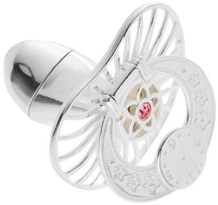 Smoczek srebrny  z zegarem różowa cyrkonia pr 925 SM12 OTWIERANY MIEJSCE NA PIERWSZY ZĄBEK