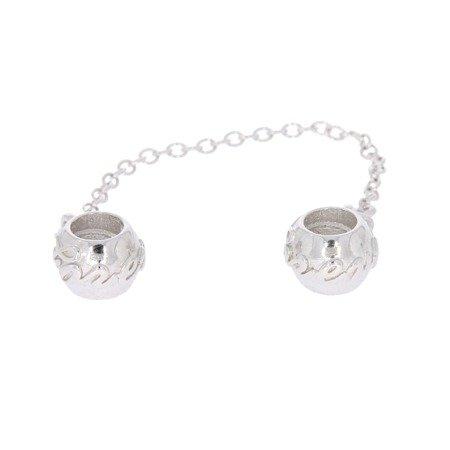 Srebrna przywieszka pr 925 Charms kajdanki z napisem forever PAN136