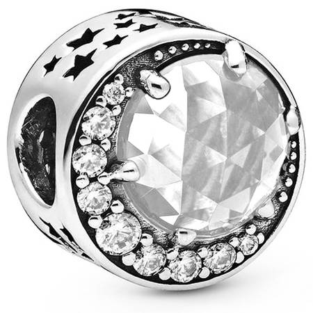 Srebrna przywieszka pr 925 Charms księzyc z białym kryształem cyrkonie PAN221