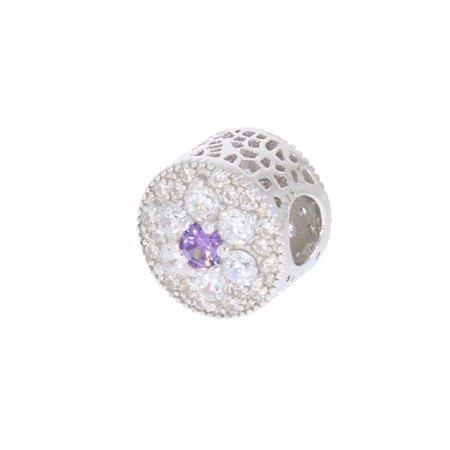 Srebrna przywieszka pr 925 Charms kwiatek cyrkonie PAN045