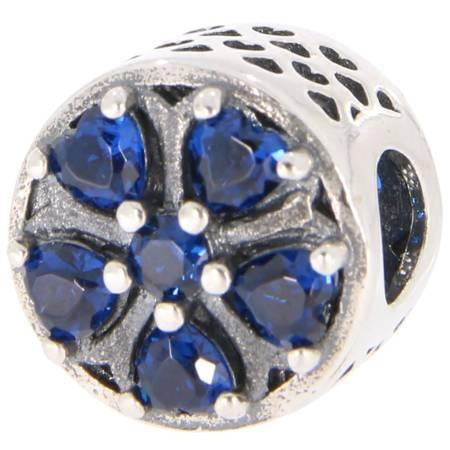Srebrna przywieszka pr 925 Charms niebieski kwiat PAN231