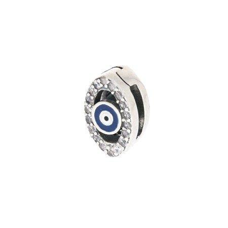 Srebrna przywieszka pr 925 Charms płaski oko cyrkonie PANP018