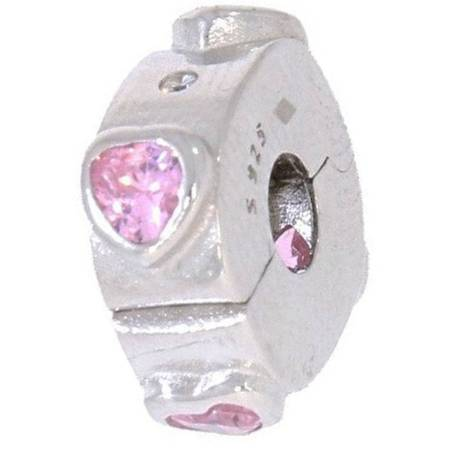 Srebrna przywieszka pr 925 Charms różowe serca cyrkonie PAN067