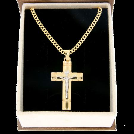 Zestaw Złoty krzyż z łańcuszkiem pancerka w opakowaniu ozdobnym z grawerem pr. 585 ZK064/ZL020/P3/BA-6
