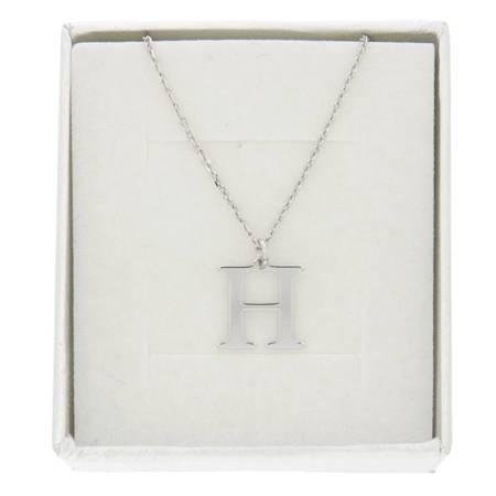 Zestaw naszyjnik celebrytka literka H 1,0 cm srebro rodowane pr 925 z pudełkiem CELH1CM/P40/1