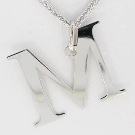 Zestaw naszyjnik literka M 2,0 cm z łańcuszkiem srebro rodowane pr 925