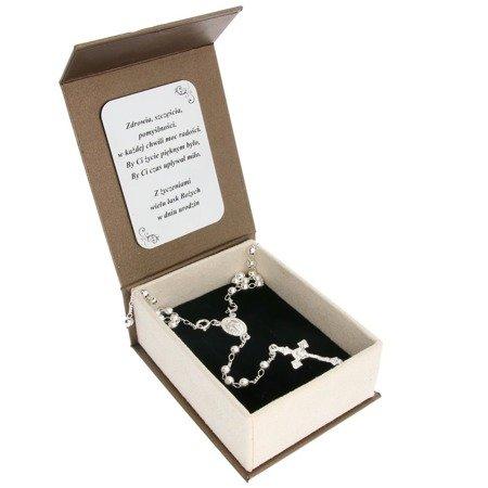 Zestaw różaniec srebrny - 5 dziesiątek 9,7g, 4mm srebro pr. 925 RC020/BA-6/A21