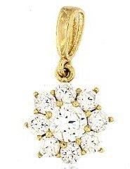Złota przywieszka pr. 585 Kwiatuszek z okrągłym oczkiem duży ZP029
