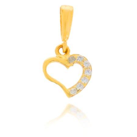 Złota przywieszka pr. 585 Małe serce połowa z cyrkoniami ZP009