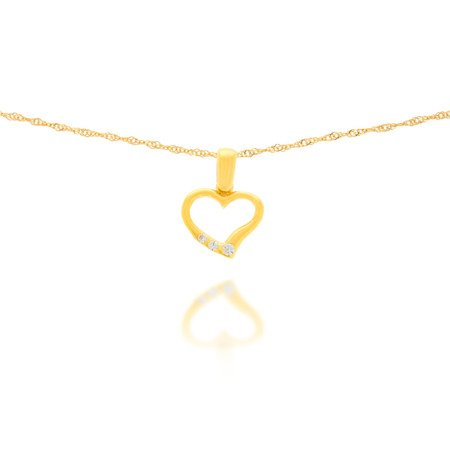 Złota przywieszka pr. 585 Serce z trzema cyrkoniami ZP011