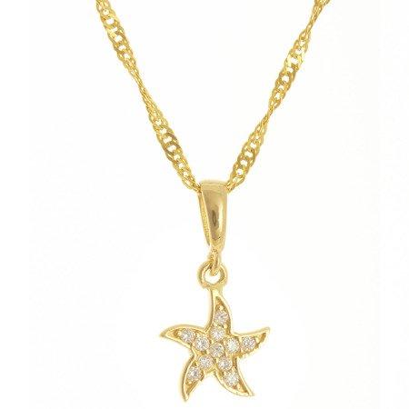 Złota przywieszka pr. 585 rozgwiazda cyrkonie ZP041
