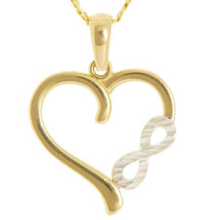 Złota przywieszka pr. 585 serce-nieskończoność  ZP054