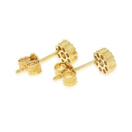 Złote kolczyki pr. 585 Kwiatuszek rozeta pełne cyrkonie sztyft ZA012