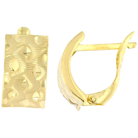 Złote kolczyki pr. 585 angielskie zapięcie szerokie diamentowane przecinki   ZA205