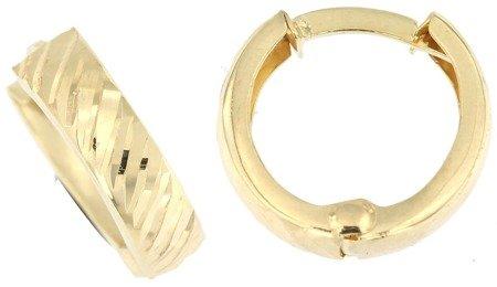 Złote kolczyki pr. 585 kreski kółka z ukośnym diamentowaniem angielskie zapięcie ZA202