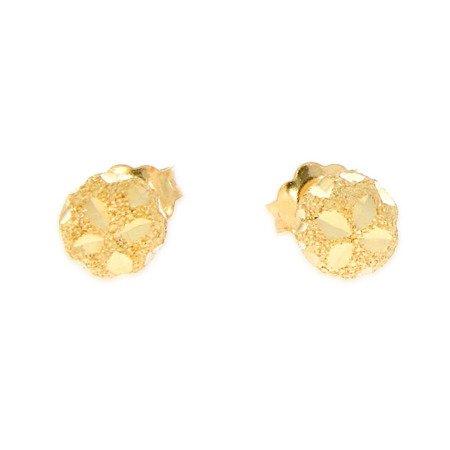 Złote kolczyki pr. 585 kulka mała satyna / grawer sztyft ZA029