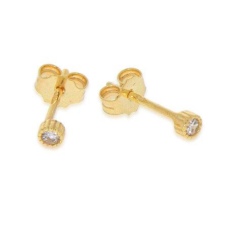Złote kolczyki pr. 585 okrągła cyrkonia sztyft ZA013