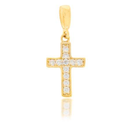 Złoty krzyżyk pr. 585 Krzyżyk cyrkonie ZK024