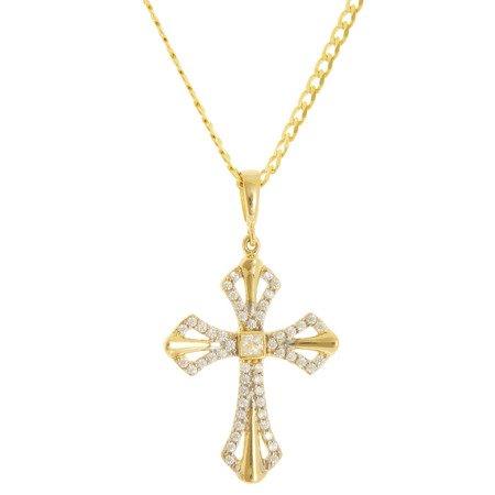 Złoty krzyżyk pr. 585 Krzyżyk cyrkonie  ZK056