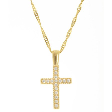 Złoty krzyżyk pr. 585 Krzyżyk cyrkonie  ZK058