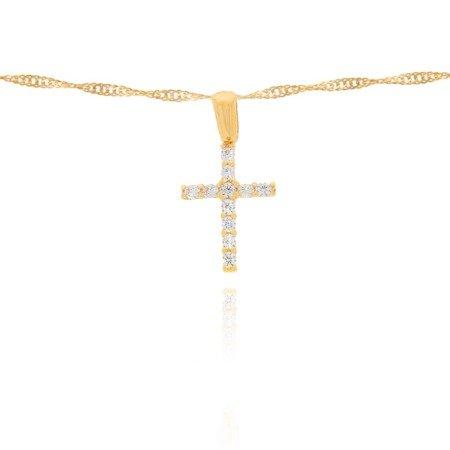 Złoty krzyżyk pr. 585 Krzyżyk prosty cyrkonie ZK017