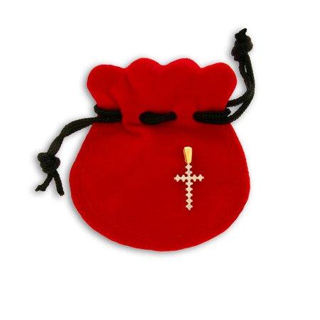 Złoty krzyżyk pr. 585 Krzyżyk prosty cyrkonie ZK033