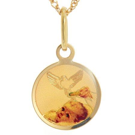 Złoty medalik pr. 585 Dzieciątko z gołębiem  ZM069