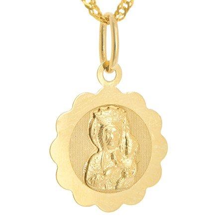 Złoty medalik pr. 585 M.B. Częstochowska kwiat ZM043